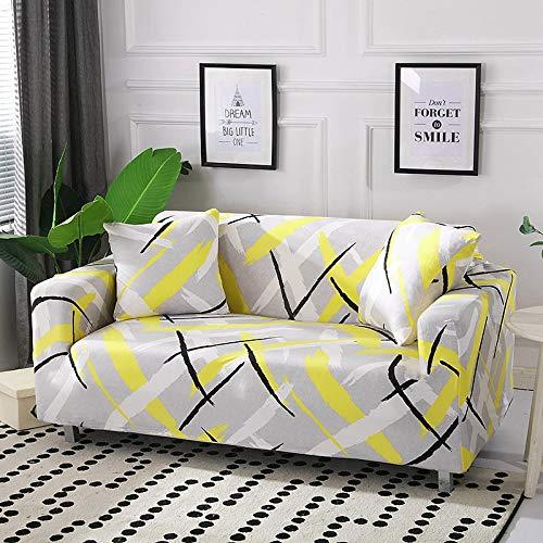 ASCV Funda de sofá de algodón Funda de sofá elástica Fundas de sofá elásticas para Sala de Estar Protector de Muebles de sofá en Forma de L Individual A8 4 plazas