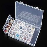 Snner - Organizer Rimovibile in plastica Trasparente, per Nail Art, Strass, 28 Scomparti, Gioielli, Orecchini, Perline, collane, Accessori