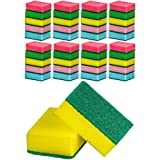 DecorRack 40 Cleaning Scrub Sponges for Kitchen, Dishes, Bathroom, Car Wash, One Scouring Scrubbing One Absorbent Side, Abrasive Scrubber Sponge Dish Pads, Heavy Duty, Assorted Colors (Pack of 40)
