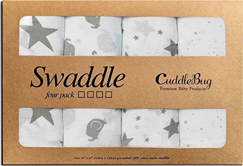 Mantas de Muselina Unisex CuddleBug - Paquete de 4 - Sabanas de Envolver, Paños de Algodon 100% Muselinas Infantil - Tamaño Grande 120x120cm - Mantas Suaves de Lactancia Multiuso - Estrellas (Starry Nights)