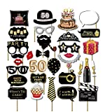 7-gost 32PCS 50th Fifty Year Old Birthday Party Favor Photo Booth Props Supplies Decoration