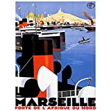 Wee Blue Coo Travel Tourism Marseilles France Mediterranean Vintage Advertising Art Print Poster Wall Decor 12X16 inch