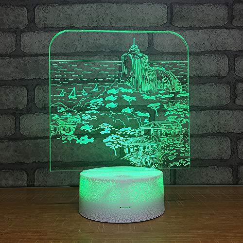 Yoppg 3D Led Luz De Noche Ilusión Óptica Lámpara De Mesa Luz Iluminación 7 Colores Touch Switch Usb Or Batería Dormitorio Para Niños Cama Regalo De Navidad Xanadu