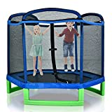 7ft Hexagonal Outer Net Trampoline Outdoor for Kids with Enclosure Net and Safety Pad Bulit-in Zipper Heavy Duty Frame Kids Trampoline for Indoor Outdoor Gifts for Boy and Girl