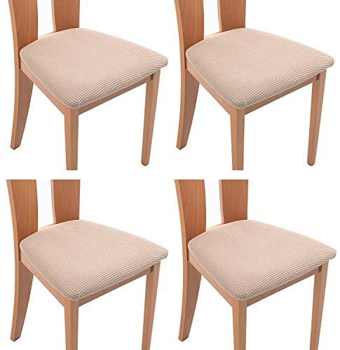 TIANSHU Funda Asiento Silla,Fundas elásticas para Asientos de sillas de Comedor y Oficina Jacquard Poliéster Elástica Fundas sillas Duradera(Paquete de 4,Arena)