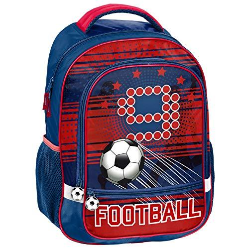 Kinderrucksack/Schulranzen 43 x 31 x 13 cm - Fussball/Football - BLAU/ROT