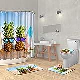 VividHome 4 Stück Ananas Duschvorhang-Sets mit Rutschfester Teppich, WC-Deckelbezug, Badematte & 12 Haken, gelbe Ananas mit Brille am Sand Strand Duschvorhang Wasserdicht Badvorhang
