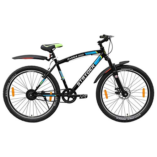 Cyclo India TATA Stryder Harris 200 27.5-inches Single Model MTB Speed Bicycle Heavy Tyre Road Bike for 15 Years and Above, Person Height 5.5-6.5 ft (Matte Black, Semi Installed)
