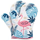 YZEECOL Oven Mitts Soft Cotton Heat Resistant Fashion Flamingo Design Gloves Safe Kitchen Baking Grilling Microwave Oven Mitts White