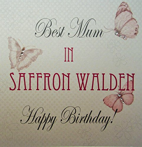 White Cotton Card-Best Mum in saffraan bossen handgemaakt verjaardagskaart met vintage vlinders