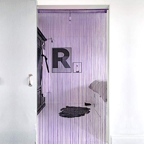 Lewondr Cortina de Hilos de Cuerda Plata, Flecos de Hilo Plateado de Panel de persianas de Ventana, Decorativa Ventana de Cortina Panel de La Puerta para Boda Casa, 39x79Inch (100x200 cm) - Violado