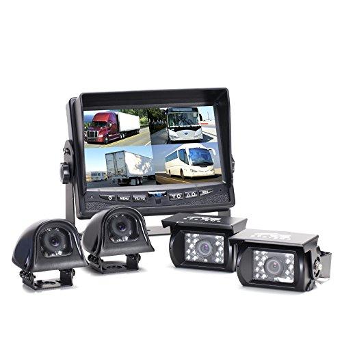 Backup Camera System - 4 Camera Setup with Quad...