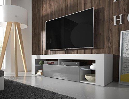 Selsey Bianko – TV Bank / TV-Schrank mit Klapptür, laminierte Platte, Weiß Matt / Grau Hochglanz, 35 x 140 x 51 cm