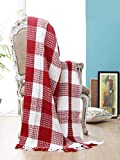 Buffalo Plaid Cotton Throw Blanket with Fringes 50x60 Inch- Red White,Cotton Throw for Sofa, Farmhouse Throw,Throw for Couch,Everyday Use,Well Crafted for Durabilty,All Season Blanket