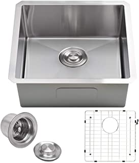 "VADANIA 22-inch Kitchen Sink, 22""x18""x10"", Single Bowl, Undermount, 18 Gauge T304 Stainless Steel, Satin Finish, with Stra..."