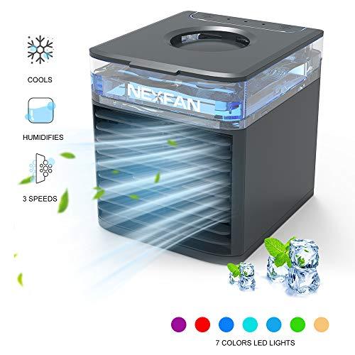 NexFan Portable Air Cooler Mobile Klimageräte, 4 in 1 Mini Tragbarer Air Kühler Klimaanlage,Luftbefeuchter, Feuchtigkeitsspender USB Klimaanlage Air Conditioner, 3 Kühlstufen, 7 Farben LED (Schwarz)
