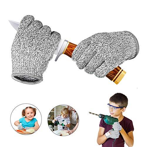 IYQOL® Schnitzhandschuhe Kinder, Schnittsichere Handschuhe für Kinder, Lebensmittelecht, Extra Starker Level 5 Schutz, Geeignet für 8-12 Jährige XS