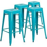 4 Pack Flash Furniture 30'' High Backless Barstool (Crystal Teal-blue)