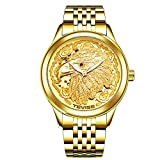 ZHANGZZ Hermoso Reloj TEVISE, TEVISE Luminoso Reloj águila Reloj mecánico automático de los Hombres dragón y fénix Reloj mecánico par (Color : 2)