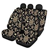 Renewold Automotive Car Seat Cover Front Seat Cover + Back Bench Seat Set for Most Vehicles, Easy Installation Protective Interior Bohemian Hawaii Floral Sea Turtle