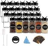 Juego de 24 tarros de especias de cristal de 120 ml, rectangulares, con tapa negra, embudo, cepillo, etiquetas y rotulador de tiza, 10,5 x 4,3 cm