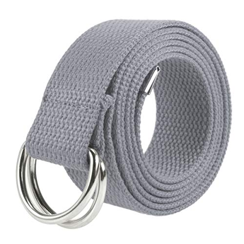 Gelante Canvas Web D Ring Belt Silver Buckle Military Style for men & women 1 or 3 pcs 2052-LightGray (S/M)