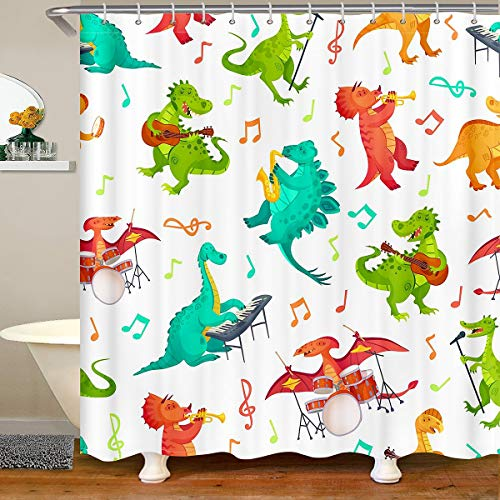 Cortina de baño para niños, diseño de dinosaurios, con dibujos animados, música, dinosaurio, cortina de ducha de roca, juego de cortina de ducha para niños y niñas, brillante y vibrante, 180 x 200 cm