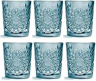 Libbey - Hobstar - Whiskyglas, Wasserglas, Saftglas - Farbe: Blau - 355 ml - 6er Set