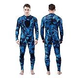 Homruilink - Traje de neopreno de 1,5 mm para hombre, traje de buceo de neopreno de 1,5 mm con capucha, traje de buceo completo para freediving Snorkeling (grande, 1,5 mm - una sola pieza)