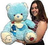 LOYFER Oso de Peluche cariñoso Muy Suave para niños y niñas de 60cm (Azul)