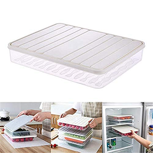 Caja de almacenamiento de alimentos para el frigorífico con tapa, apilable, sin...