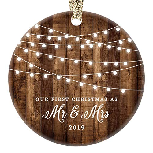 First Christmas as Mr & Mrs Ornament 2019 Rustic 1st Year Married Newlyweds 3' Flat Circle Porcelain Ceramic Ornament w Glossy Glaze, Gold Ribbon & Free Gift Box   OR00300 Delfino