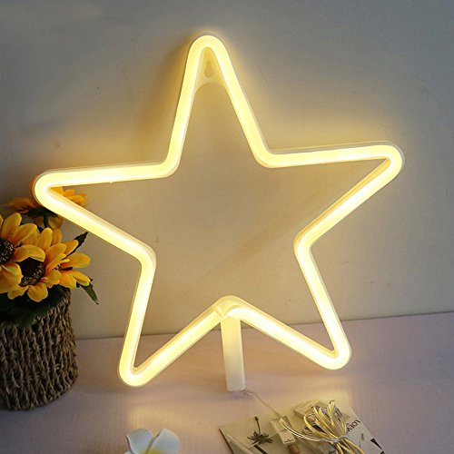 Lovely Star Shaped Decorative LED Neon Night Light With Warm White Light Operated By Battery/USB for Children's Room Party Christmas Wedding Decoration Wall Decor Art Holiday Gift