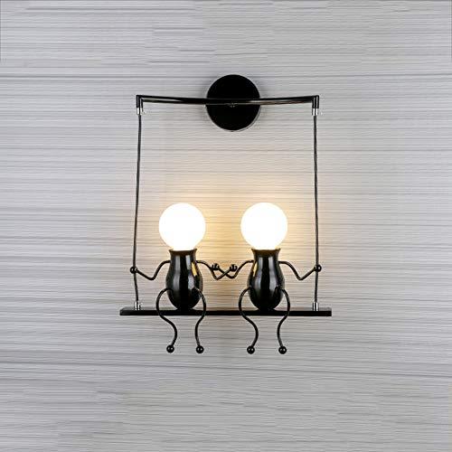 Moderna lámpara de pared creativa, E27, para habitación infantil, salón, dormitorio, estudio, cocina, hotel, café, pasillo (negro)