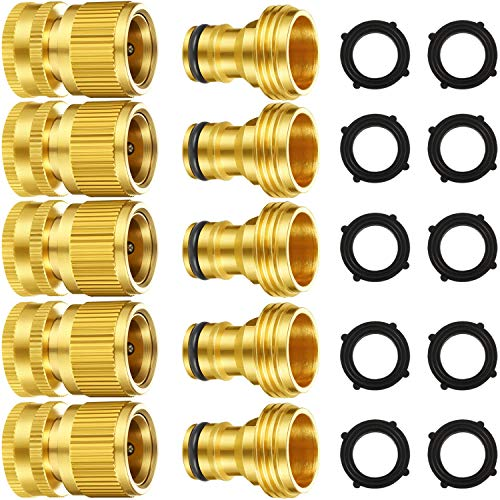 5 Set Garden Hose Quick Connect Fittings Solid Brass Quick Connector 3/4 Inch GHT Garden Water Hose Connectors with Extra Rubber Washers, Male and Female