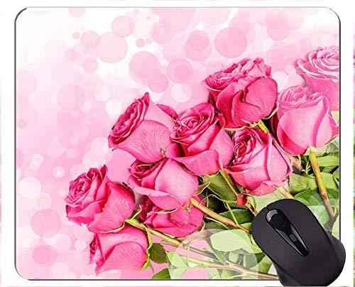 Gaming Mouse Pad Custom, Pink Flower Defocused Rose Flower - Bordes cosidos