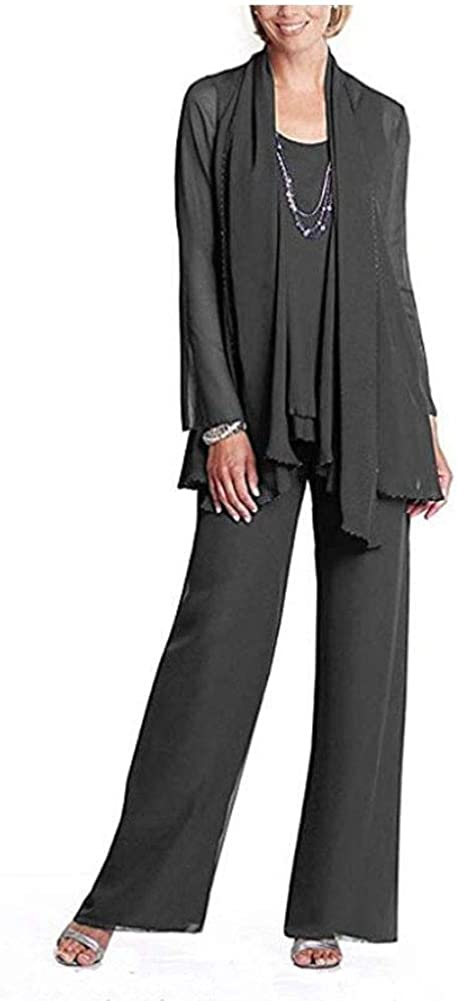 Women's 3 PC Recommendation Beaded Pants Suit for The Reservation O Mother of Chiffon Bride