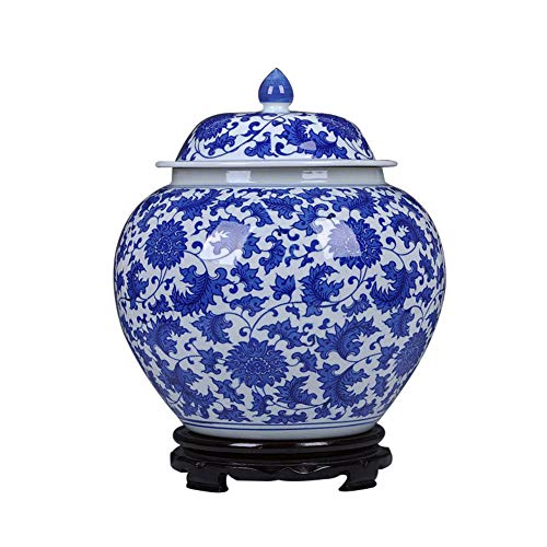Bianco E Blu Tradizionale Cinese Vasi Ceramica Porcellana Vasi Anticato Vaso Decorativo Stile Ming Cina Anticato Vasi con Base Fatto A Mano Tempio Jar Vasi-a H33xw29cm