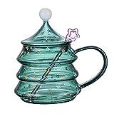 NBWS Tazas de Café de Vidrio de 500 ml, Vasos Aislados de Doble Pared Tazas de Café Resistentes Al Calor, Lindas Tazas para Beber de Té de áRbol de Navidad para la Oficina en Casa