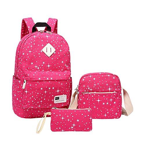 YipGrace Rucksäcke 3 Taschen Stern-Druck Mädchen & Jungs Rucksack Schultasche+Studenten Messenger Bag+Geldbörse Damentasche Ruckback Rose
