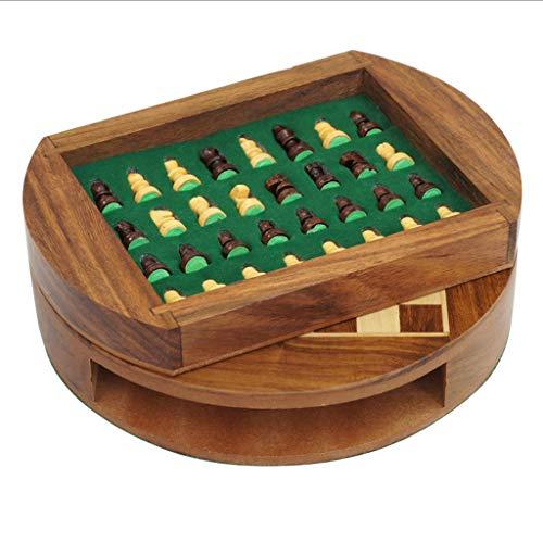 Juego de ajedrez de madera magnética con diseño de palisandro y cajón de almacenamiento hecho a mano para recoger el juego de regalo (tamaño L-22,7 cm)