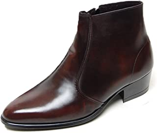 Men's Genuine Cow Leather Dress Shoes Formal Casual Zipper Ankle Boots