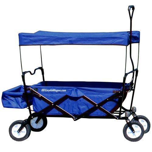 EasyGoProducts EGP-WGN-001-BLU EasyGo Sports Heavy Duty Folding All Terrain Utility Garden – Beach – Camping Red Wagon Cart with Collapsible Sturdy Steel Frame, Blue, Blue