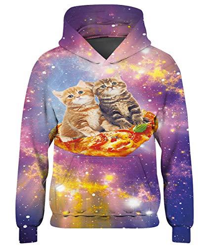 Goodstoworld Teenager Mädchen Hoodie Kinder Jungen Pizza cat Pullover Coole 3D Druck Kapuzenpullover Sweatshirt Kleider