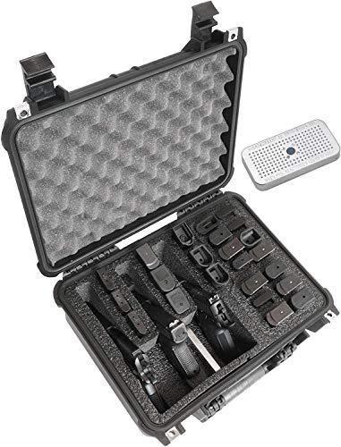Case Club 3 Pistol & Accessory & Up to 23 Magazines Pre-Cut Waterproof Case with Silica Gel to Help Prevent Gun Rust (Gen 2)