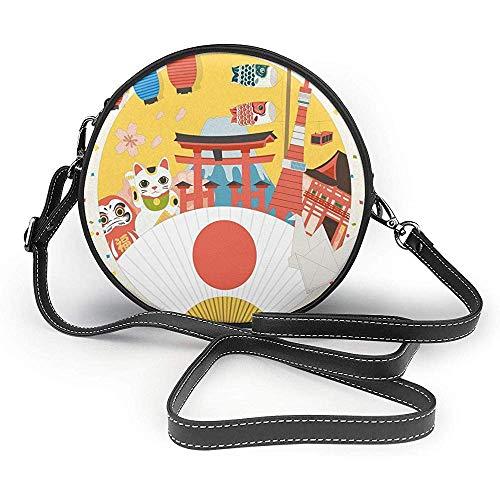 TURFED PU Runde Umhängetasche Laterne Japanisch inspiriertes Handelsmuster Verschiedene asiatische Kulturartikel Coole Cat Origami Theme Umhängetasche
