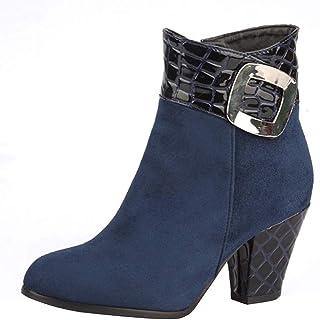 أحذية نسائية دافئة للشتاء مناسبة للحفلات، أحذية نسائية سادة بإبزيم جانبي وسحاب جانبي من جلد الغزال برقبة قصيرة