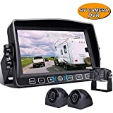 Backup Camera with 7' Touch Button Monitor Built-in Upgraded Recorder for RV Semi Box Truck Trailer 4 Quad Screen FHD Waterproof IR Rear & Side View Backing Up Camera System for Reversing/Driving