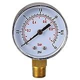 Gazechimp Druckanzeiger Druckanzeige Manometer 1/4' 0-15 PSI 0-1bar