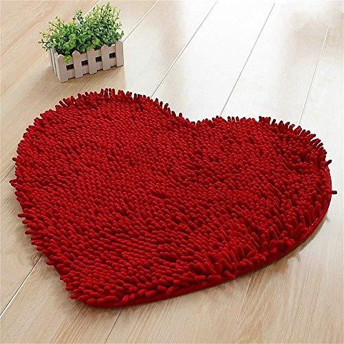 Nfudishpu Chenille herzförmigen Teppich Schlafzimmer Wohnzimmer/Bad Liebe Teppich Hause Anti-Rutsch-Absorbent Schnell trocknend Fuß/Boden/Fußmatten 50 * 60cm (Farbe: Rot, Größe: 50 * 60cm)